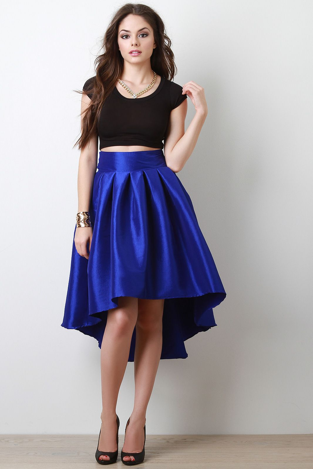 taffeta pleated high low skirt urbanog new