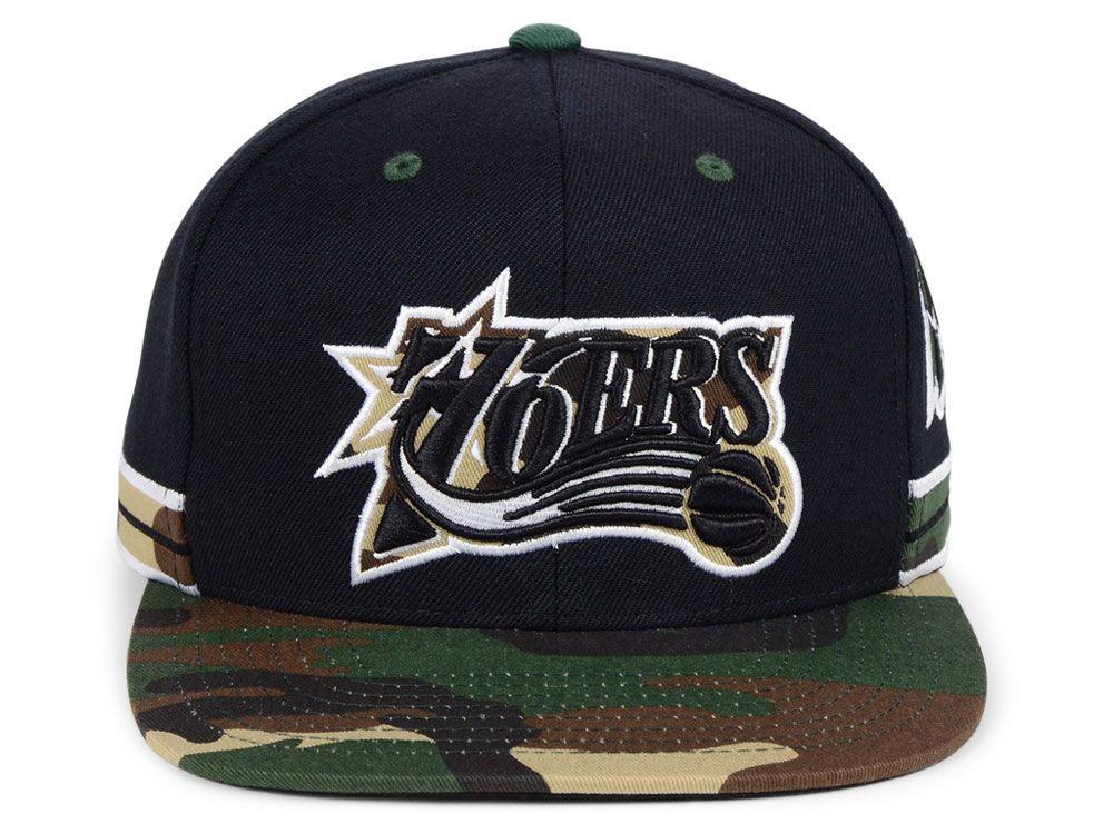 f469e52dc58 Philadelphia 76ers Mitchell   Ness NBA Straight Fire Camo Hook Snapback Cap