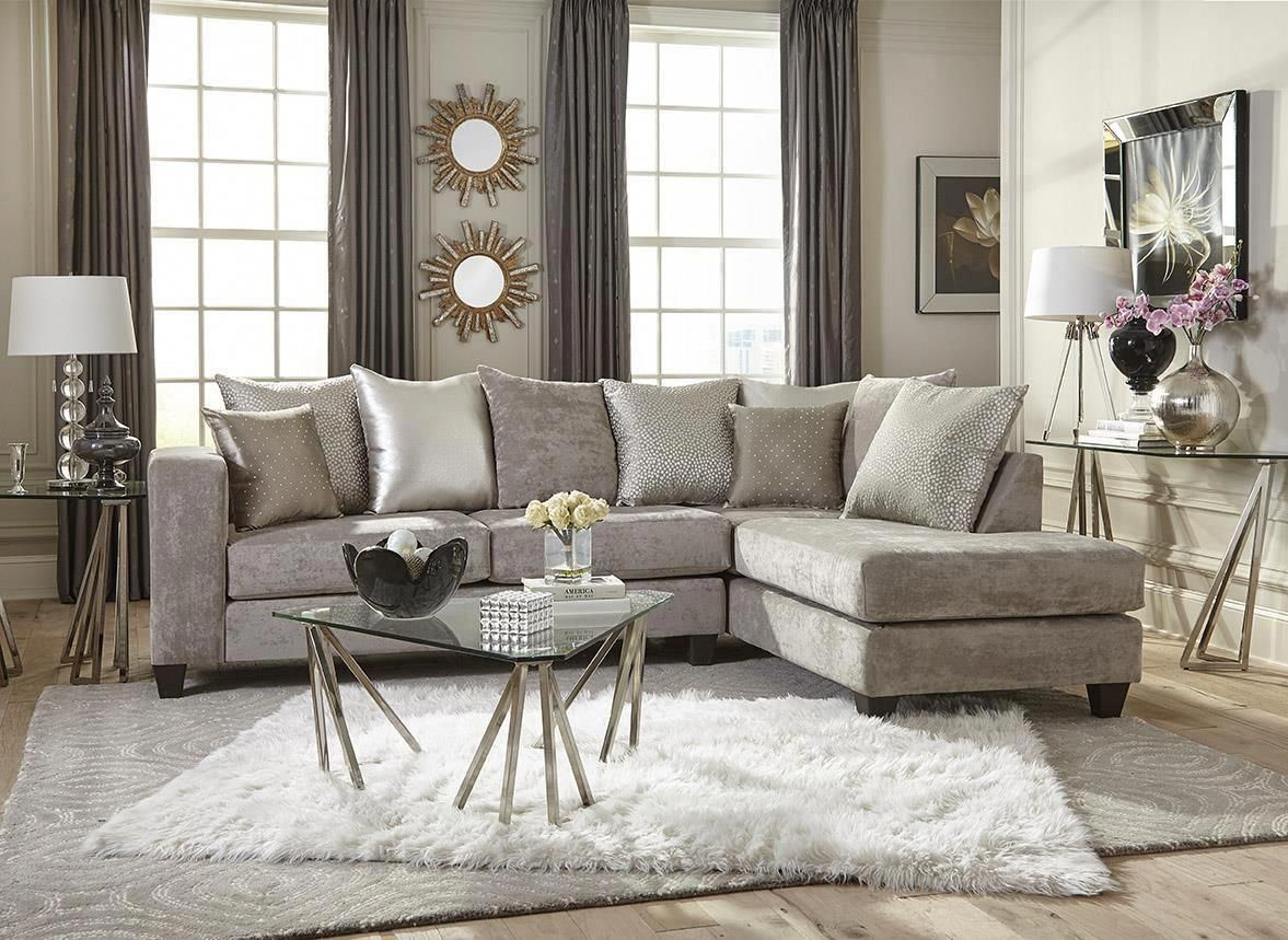 Hollywood Silver Sectional Urban Furniture Outlet Elegant Living Room Decor Sectional Sofa Elegant Living Room #outlet #living #room #furniture