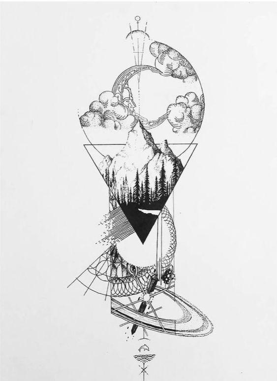 Geometric landscape tattoo