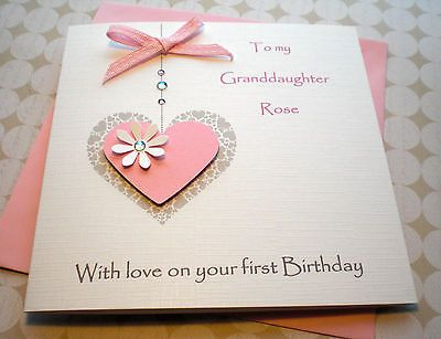 Handmade Personalised Birthday Card Girl 1st 2nd 3rd 4th Granddaughter