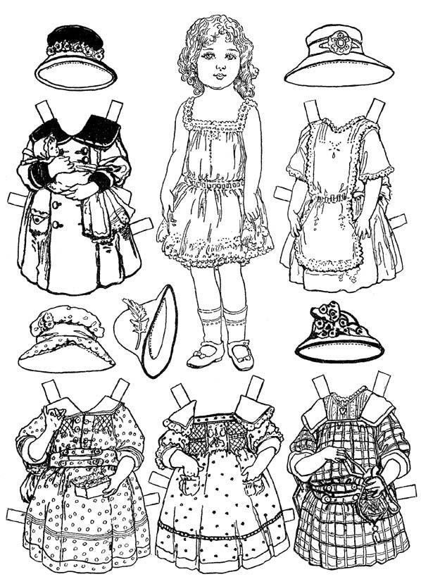 Раскраска бумажная Кукла с одеждой для вырезания (с ...