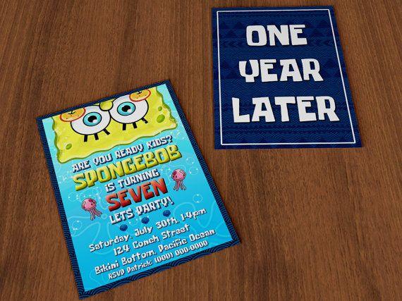 PRINTABLE Custom Spongebob Squarepants Birthday Invitation