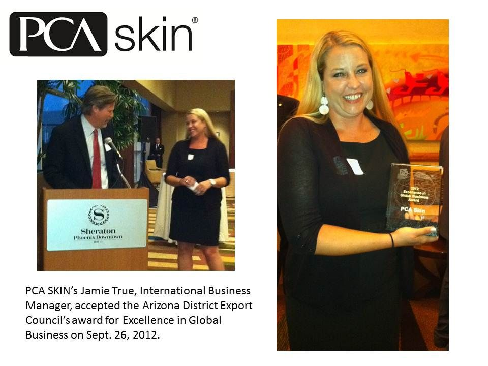 pca skins jamie true international business manager accepted the arizona district export councils award - International Business Manager