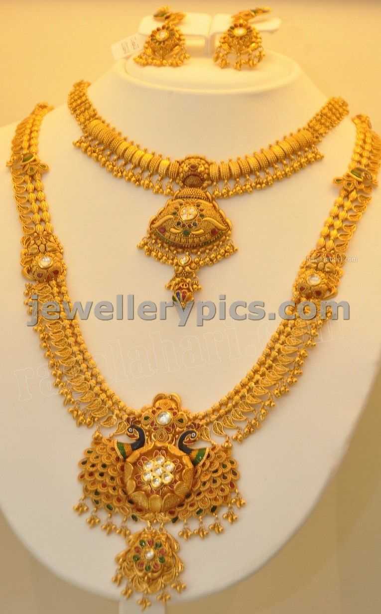 Khazana Jewellers Mango Haram Design With Gundla Design