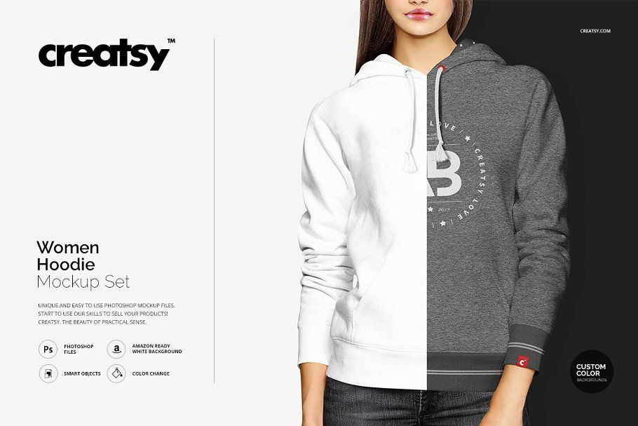 Download Women Hoodie Mockup Set By Creatsy On Creativemarket Hoodie Mockup Hoodie Template Hoodies Womens