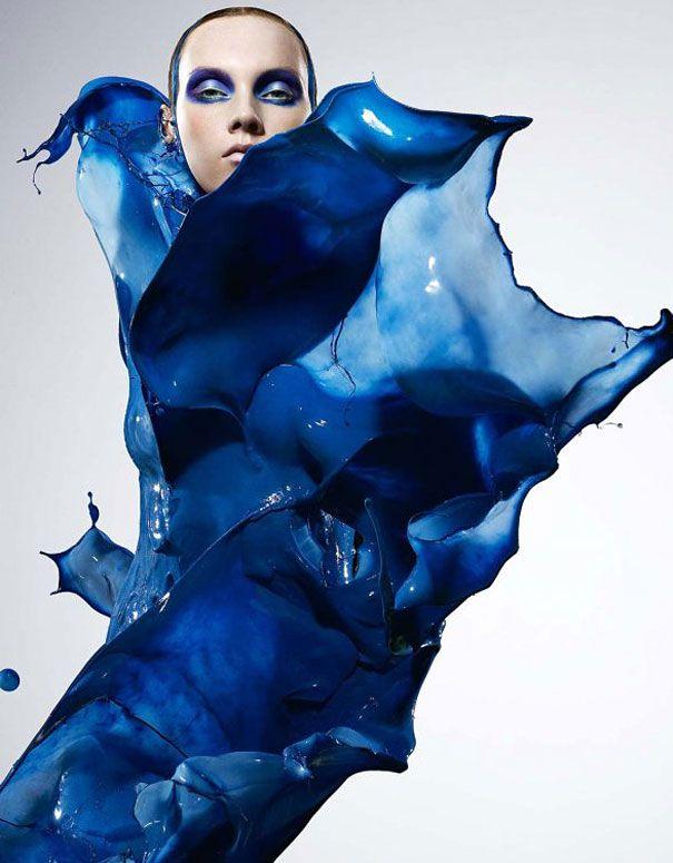 CHAMEO DESIGN I MATERIAL TRENDS Photographer Iain Crawford Dresses Models in Paint Splashes   DeMilked