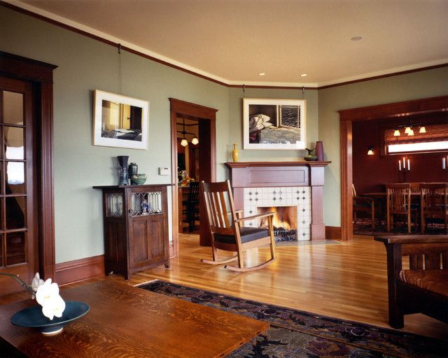 I Love The Stained Wood Crown Molding Would Look Really Great With Dark Wood Stained Floors Craftsman Living Rooms Paint Colors For Living Room Dark Wood Trim