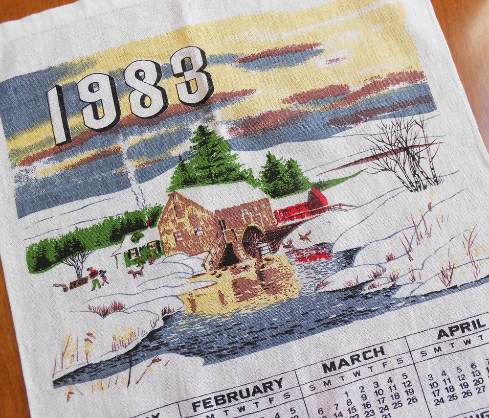 1983 Calendar Towel Millhouse Rural Winter Scene Kitchen Tea Towel