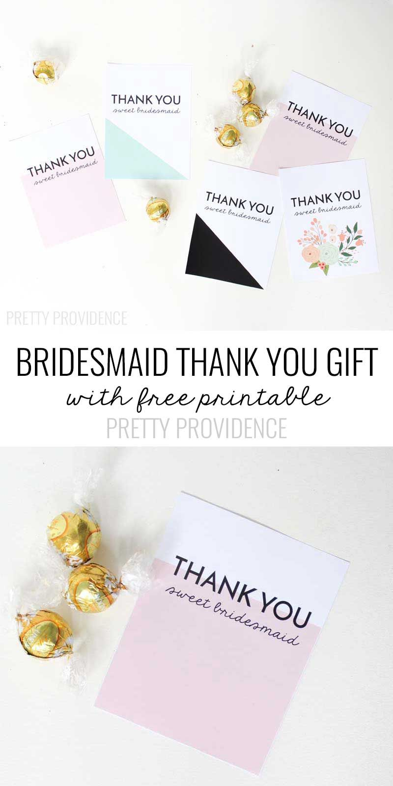 Bridesmaid Thank You Gift Printable  Free Printable Gift And