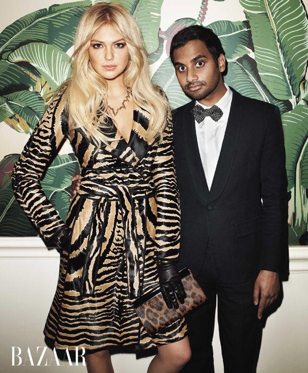 Kate Upton & Aziz Ansari in Harper's Bazaar
