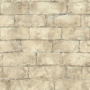 The Wallpaper Company 8 in. x 10 in. Beige Brick Wallpaper
