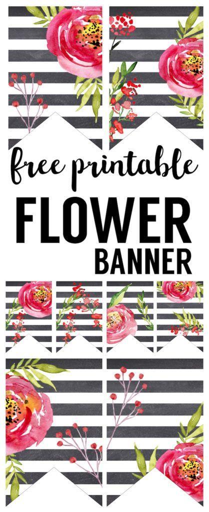 Watercolor Flower Banner Free Printable Paper Trail Design Birthday Banner Free Printable Floral Banners Flower Printable