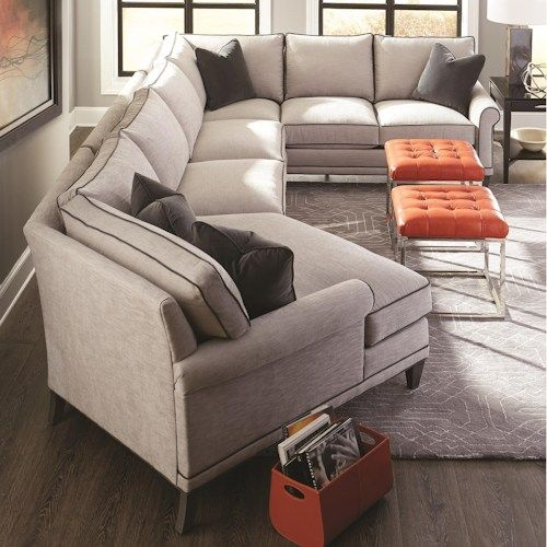 Rowe My Style I U0026 II Transitional Sectional Sofa With Turned Legs And  Rolled Arms