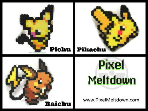 Pichu Pikachu Raichu Pokemon Pixel Art By Pixelmeltdown On