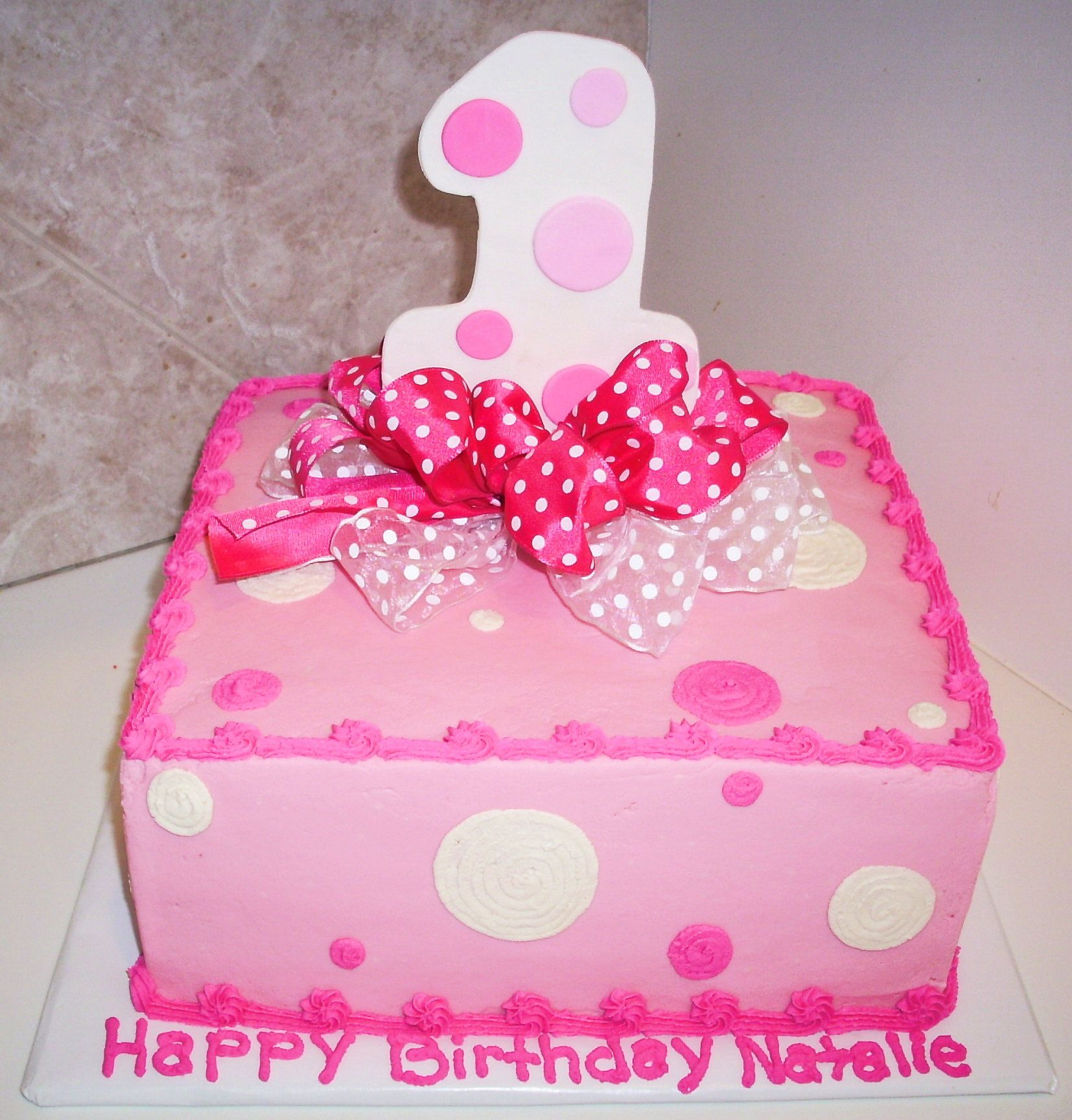 1st Birthday Cakes For Girls Pink Bow Cake
