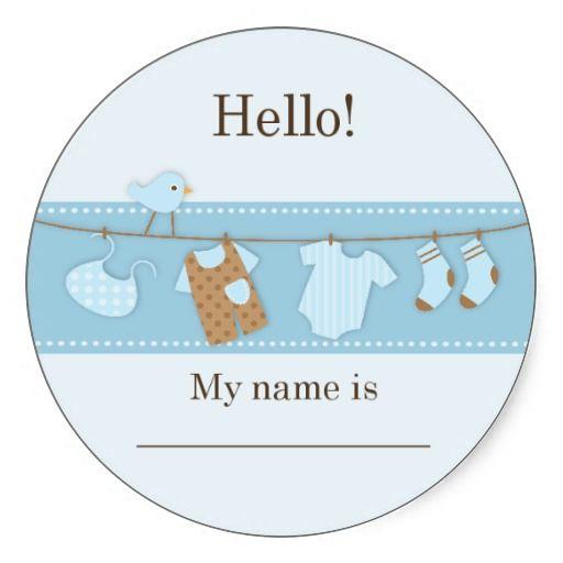 Blue Bird On A Clothesline Baby Shower Name Tag Round Sticker