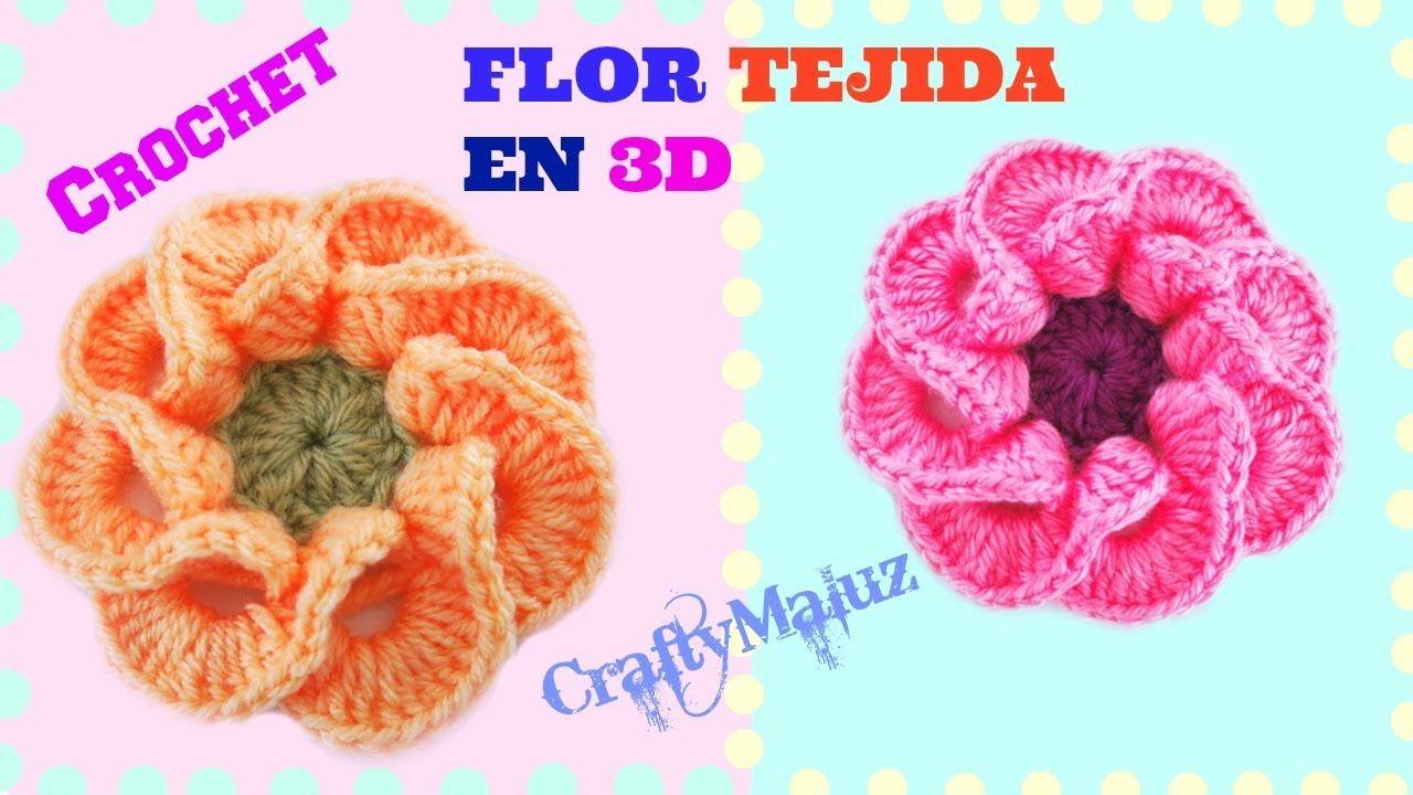 TUTORIAL: FLOR TEJIDA EN 3D PASO A PASO | Crochet como hacer una ...