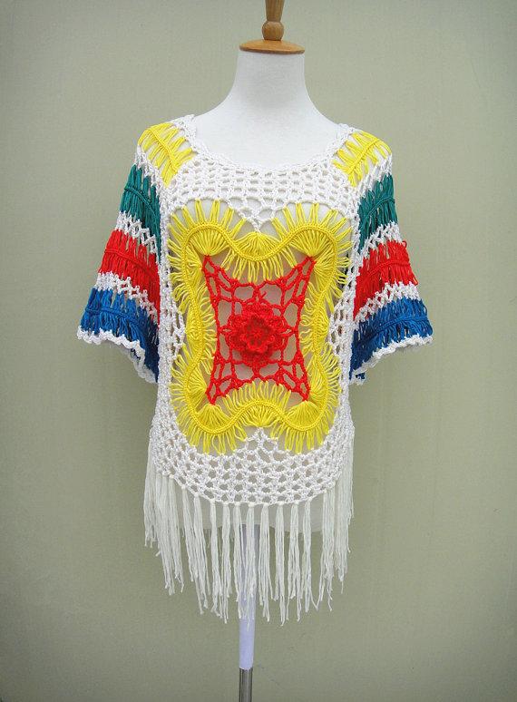 Gypsy Boho Crochet Lace Blouse Short Sleeve | Aa/ Tejido Libre ...