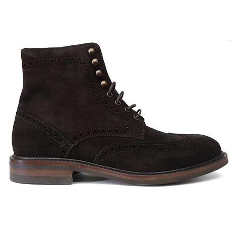 Zapato botín pala vega picado maría ante marrón goma dainite Berwick 1707 vista lateral