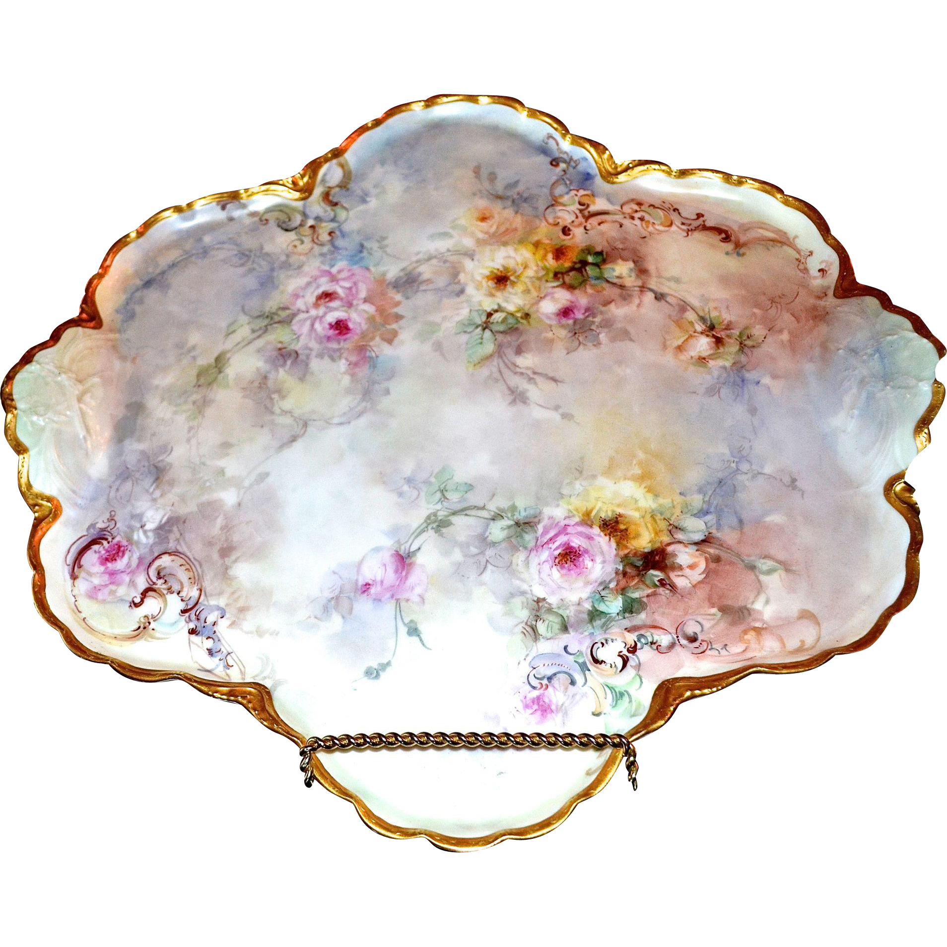 Limoges magnificent huge traywall plaque filled with romantic roses
