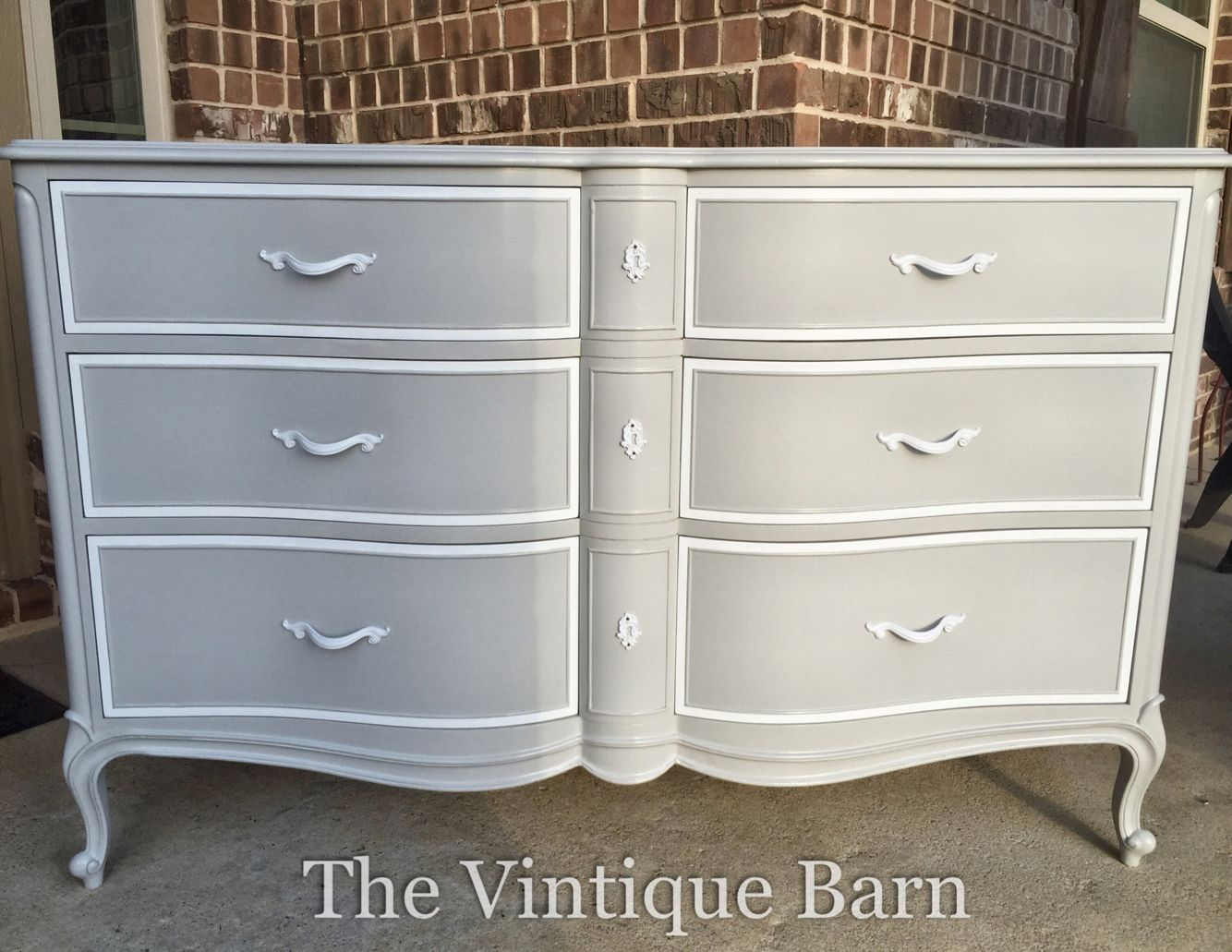 Drexel French Provincial Dresser Painted With General Finishes Milk Paint Seagull Gray And Snow White