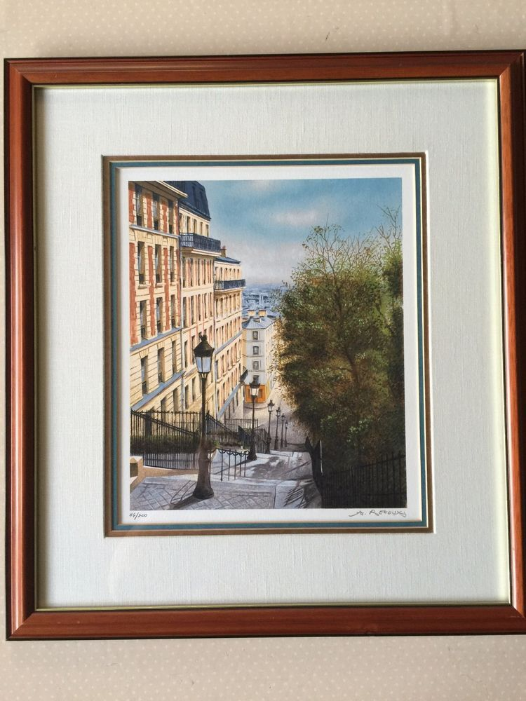 Andre Renoux Rue St Victor Serigraph Print Hand Signed