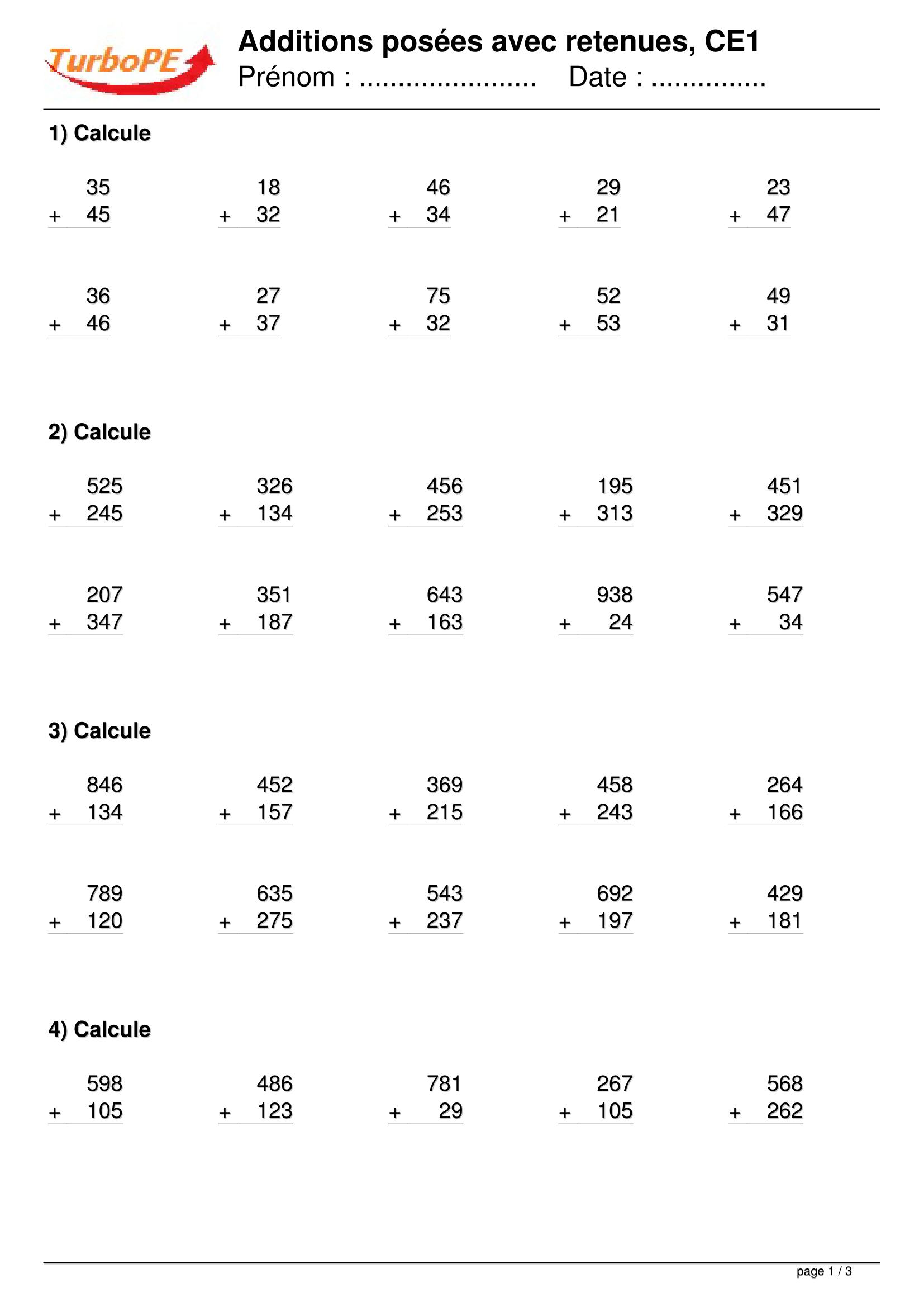 Additions posées avec retenues - Calcul CE1   Calcul ce1 ...