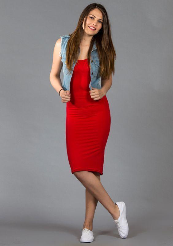 Resultado de imagen para outfit vestido rojo pegado | outfit ideas | Pinterest | Outfit vestido ...