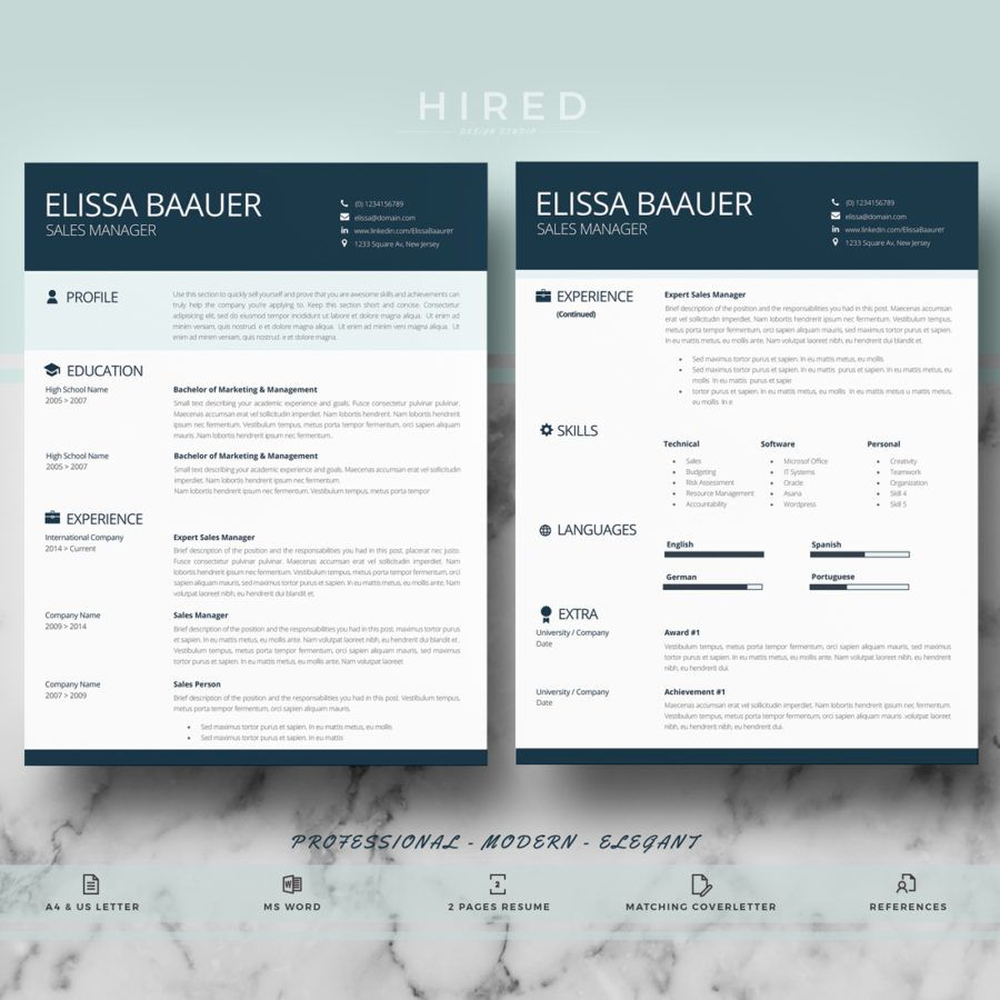 Modern And Professional Resume Template For Ms Word Elissa