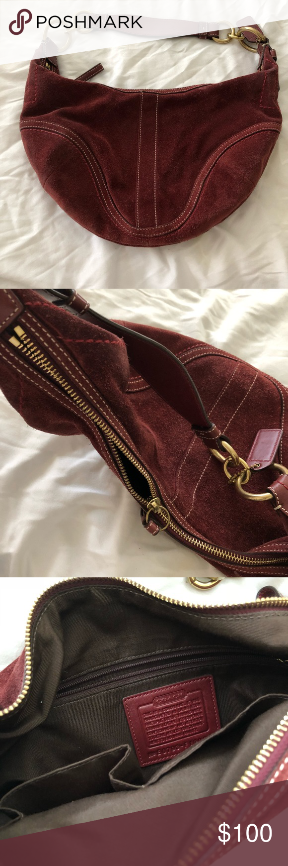 Coach Burgundy Suede Leather Hobo Bag 🍬Beautiful Authentic Maroon Coach  Seude Leather bag, it has Brass hardware Shoulder trap 15