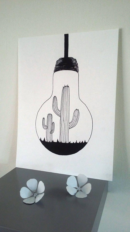 Affiche Illustration Noir et blanc ampoule | Illustration noire, Dessin ampoule et Facile à dessiner