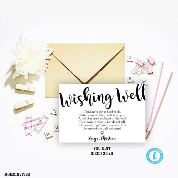 Printing Your Own Wedding Invitations: Wishing Well Card Wishing Well Template Wishing Well