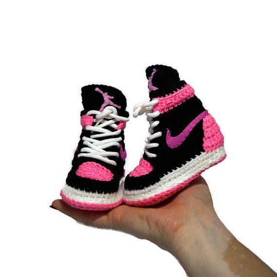 Crochet Baby Air jordan infant Girl Pink Sneakers Newborn Soft ...