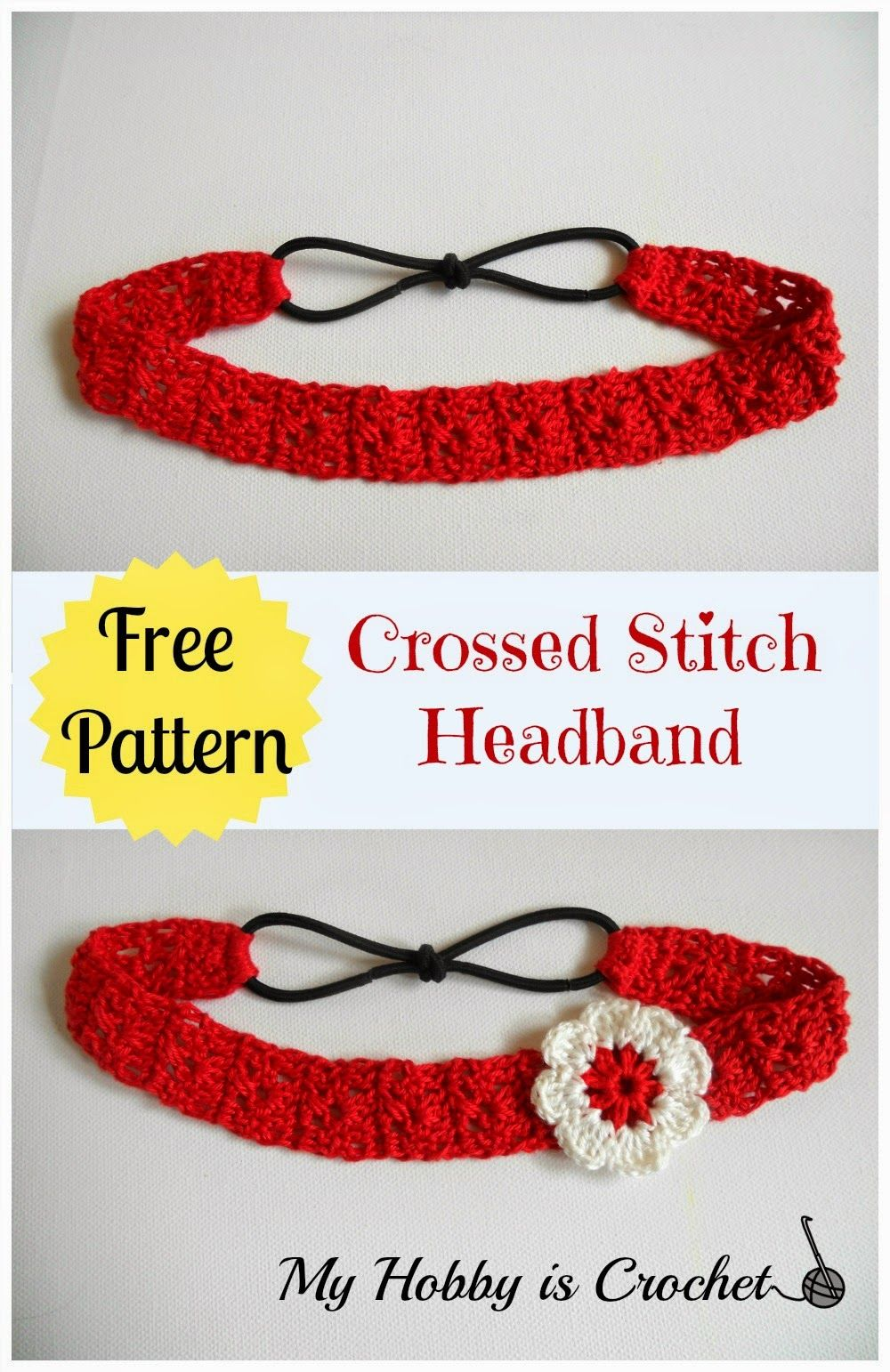 Crossed Stitch Headband with Flower Applique - Free Crochet Pattern ...