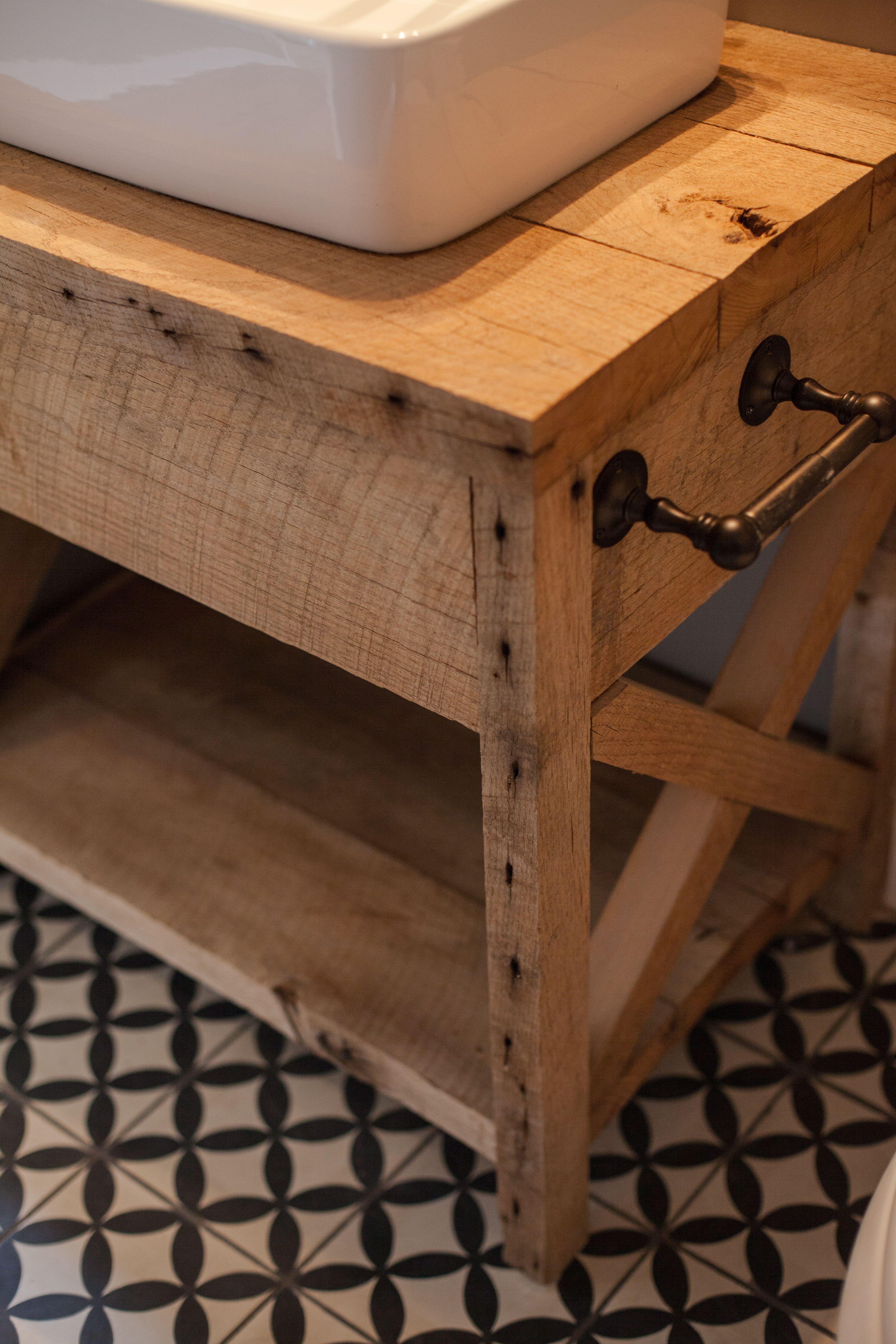 Custom Barn Wood Bath Vanity With Cement Tile Floor By