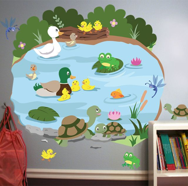 Preschool pond mural duck pond mural preschool for Classroom mural ideas