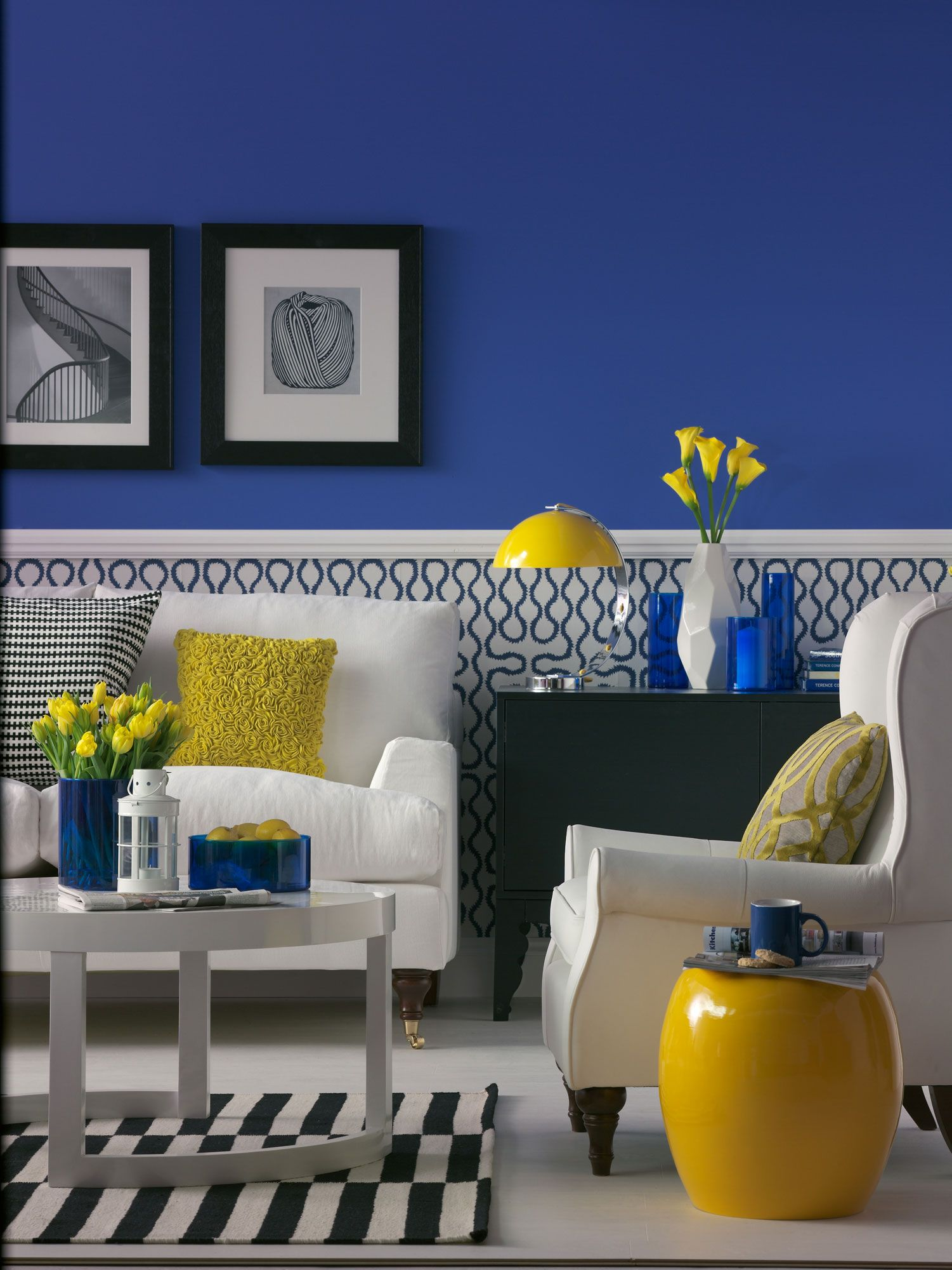 blue yellow living room designed by sophie robinson