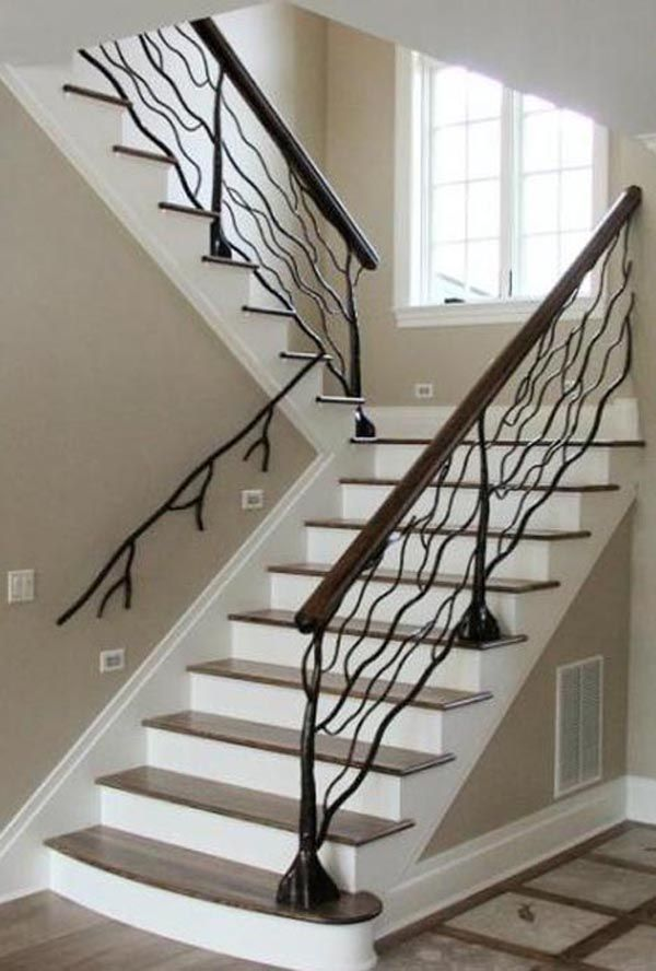 Tree Branches Railing Shaped Creative Staircase Stairs Artistic Interior Home Design Decor Decorating