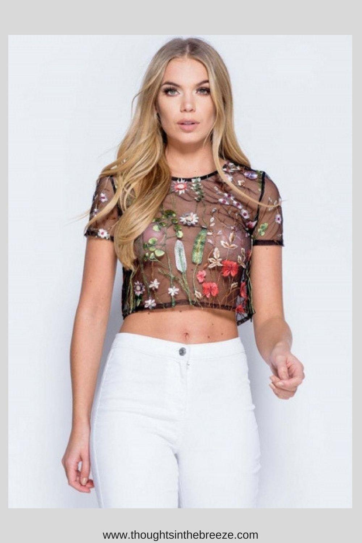 4871deb769ca0 Shirt Blouses · Summer Wear ·  14.99 women-s-short-sleeve-floral-embroidery- mesh-crop