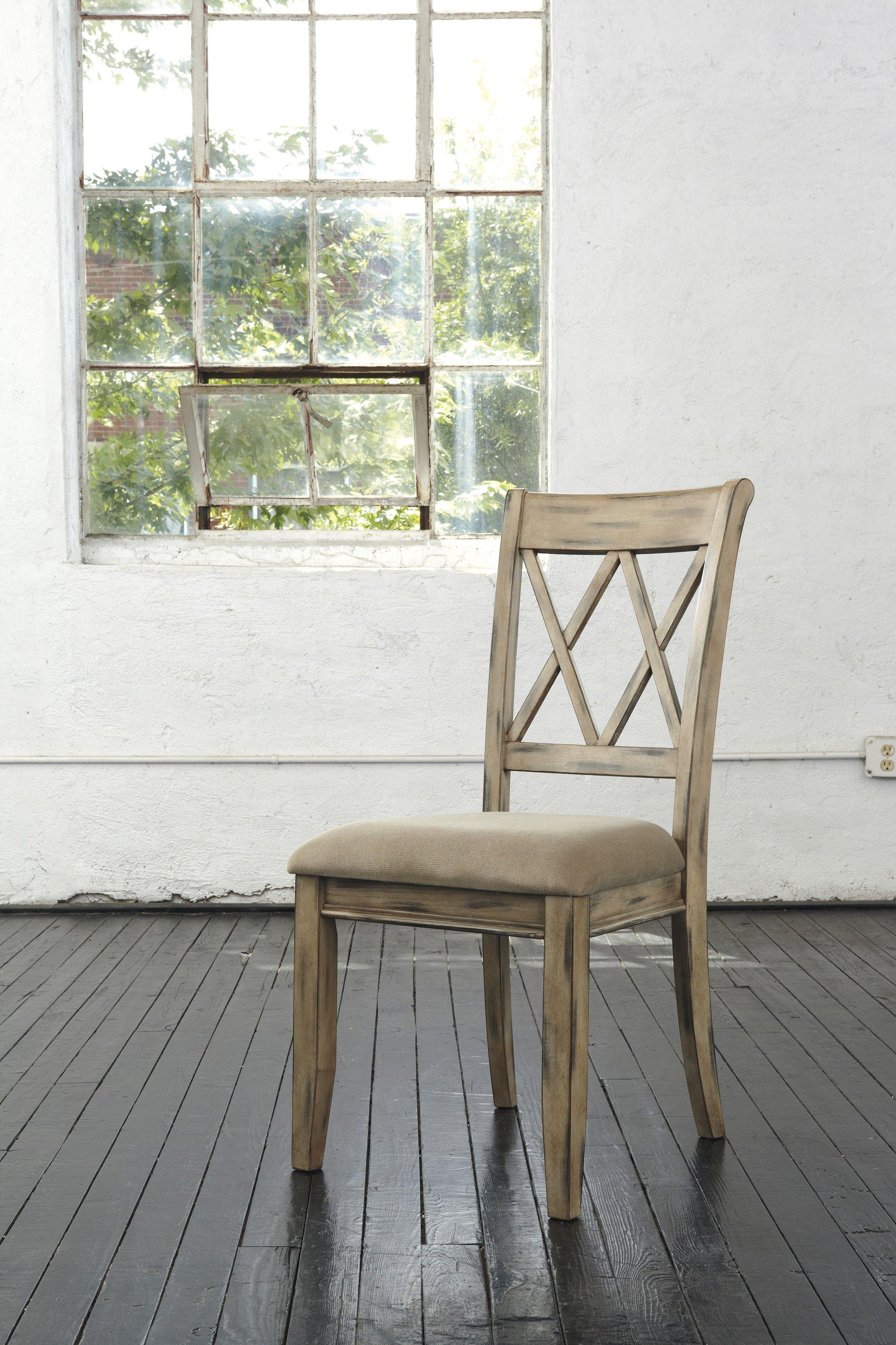 Mestler Antique White Dining Upholstered Side Chair Set Of 2