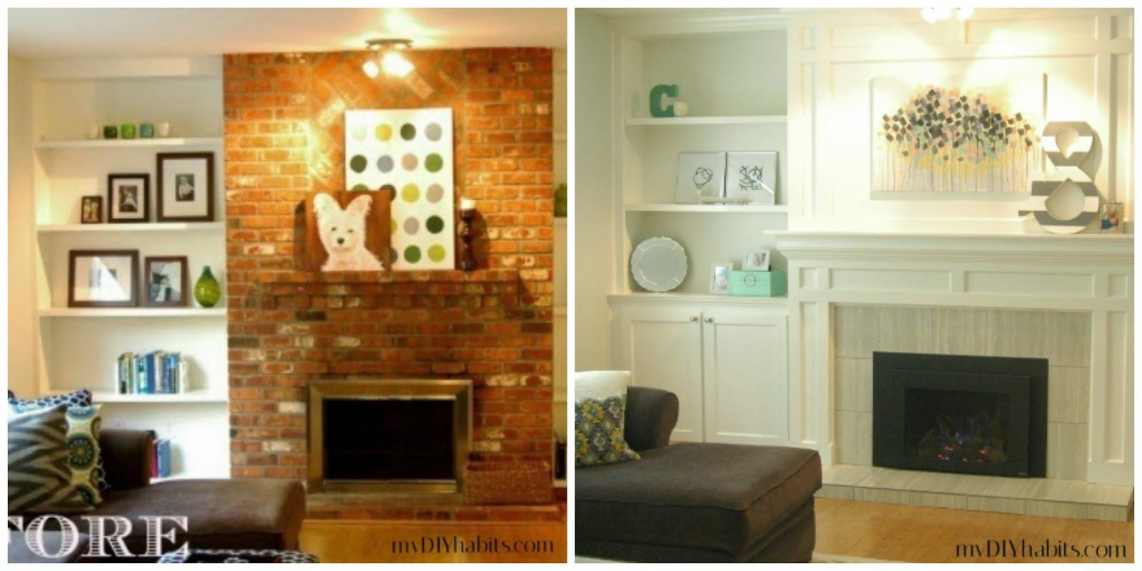Our transformed fireplace before u after home pinterest