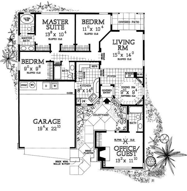 Country Home Plan 4 Bedrms 3 Baths 1418 Sq Ft 137 1363 Courtyard House Plans Country House Plans Cute Small Houses