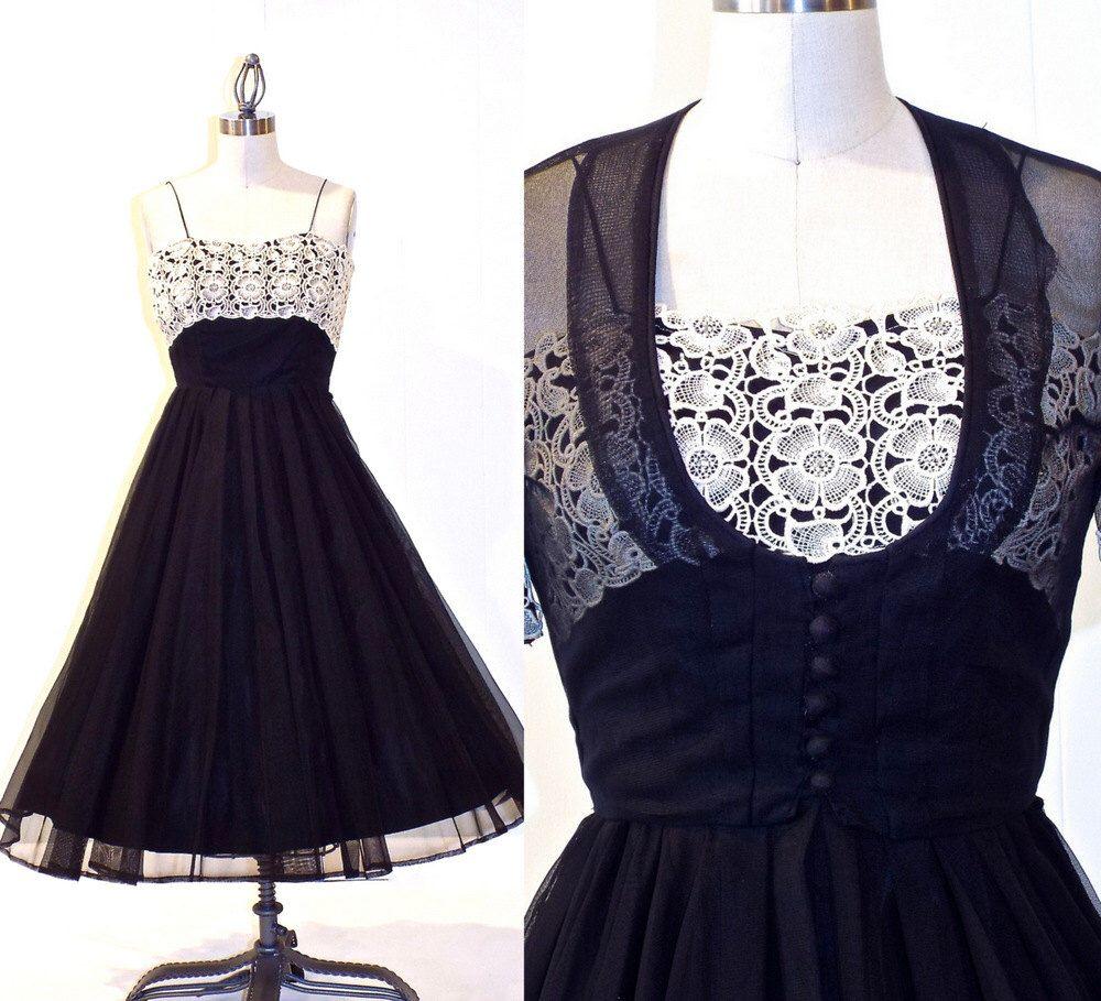 S prom dress s party dress and bolero black net and cream