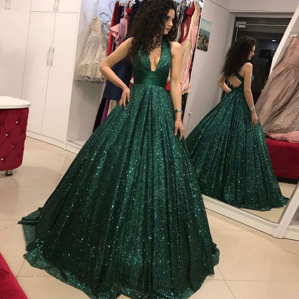 Aline vneck open back dark green sequin prom dresses graduation