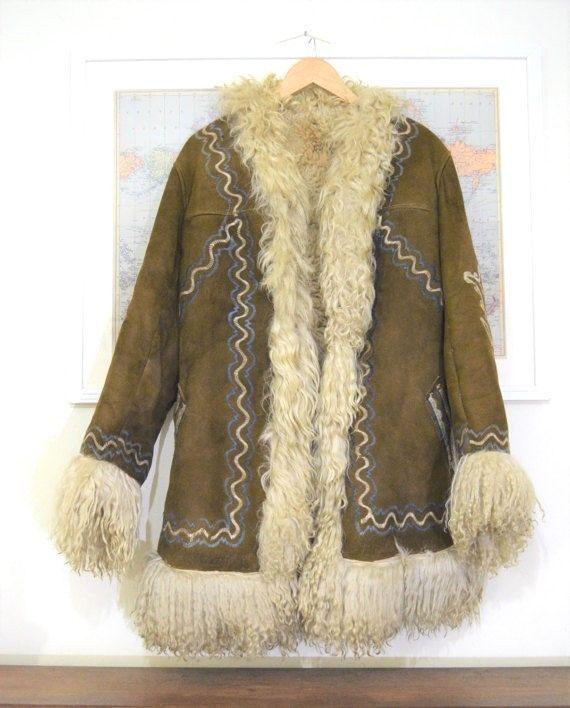 ffe0df9ef8c955 Vintage Suede Afghan sheepskin Fur collar 60s 70s penny lane coat jacket M  brown | eBay