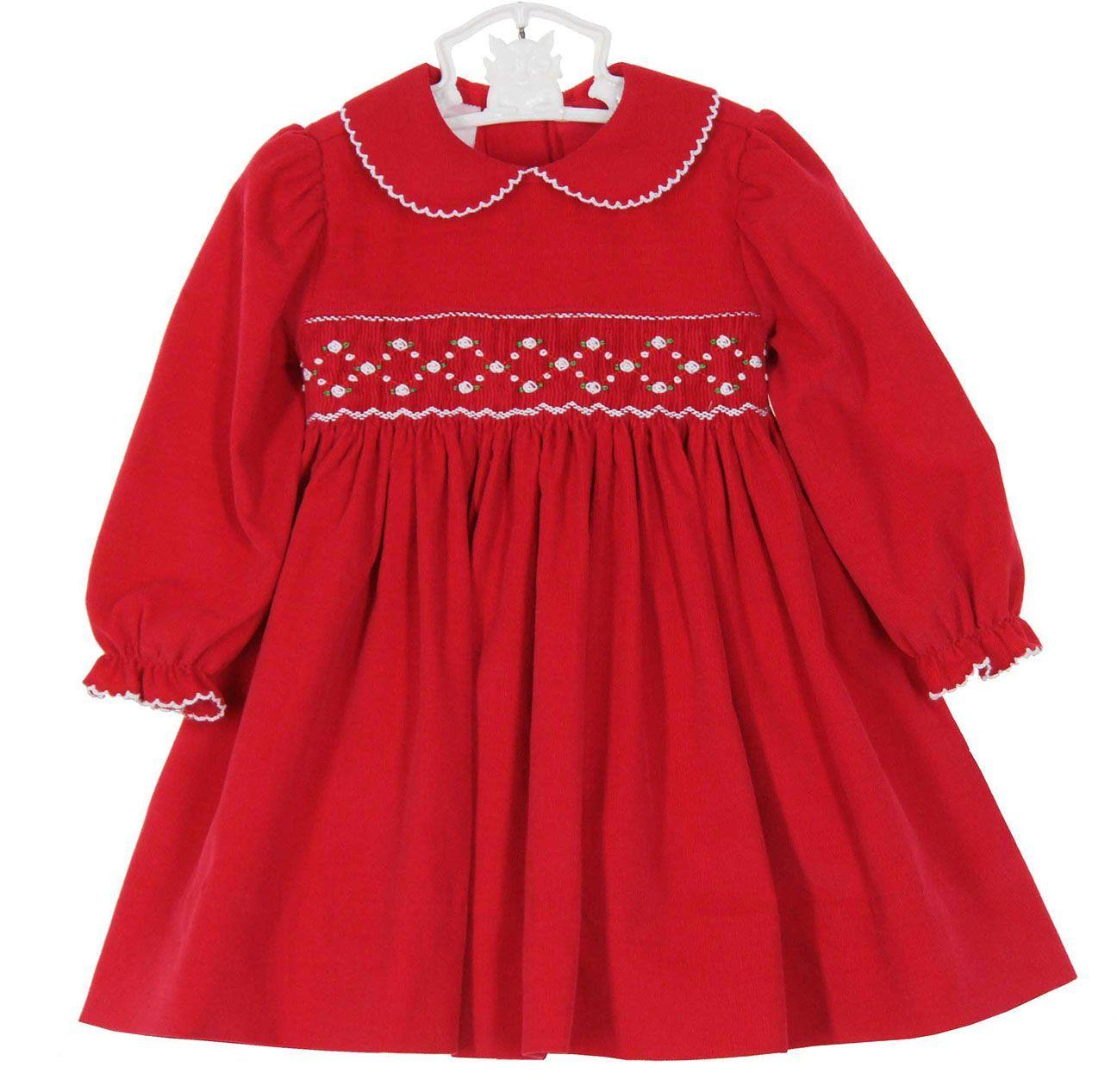 0f2fa4189660 NEW Petit Bebe by Anavini Red Cotton Corduroy Smocked Dress $60.00 ...