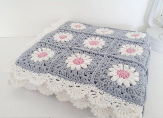Photo of Knit baby blanket, crochet baby blanket, granny square, camomile, blanket for newborn, baby gift, afghan, granny square afghans, baby plaid