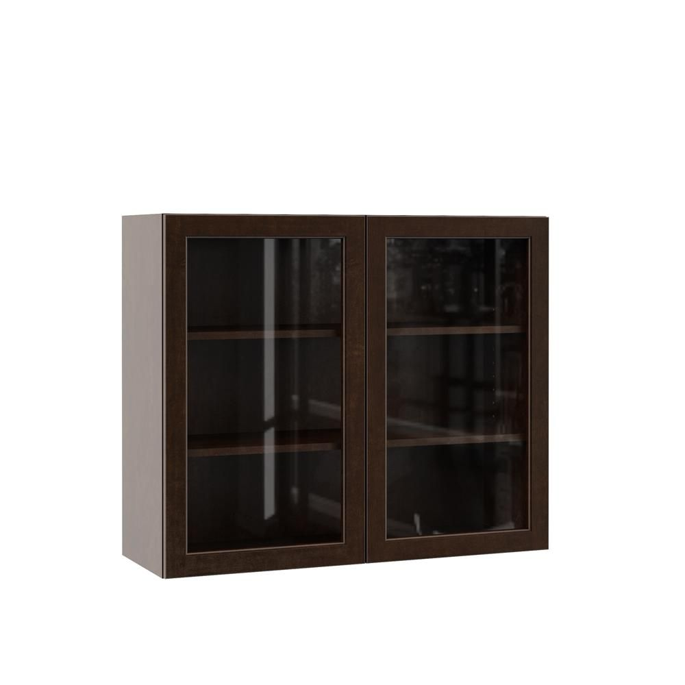 Hampton Bay Designer Series Gretna Assembled 36x30x12 In Wall Kitchen Cabinet With Glass Doors In Espresso Wgd3630 Gres The Home Depot Glass Cabinet Doors Glass Kitchen Cabinet Doors Hampton Bay Designer Series