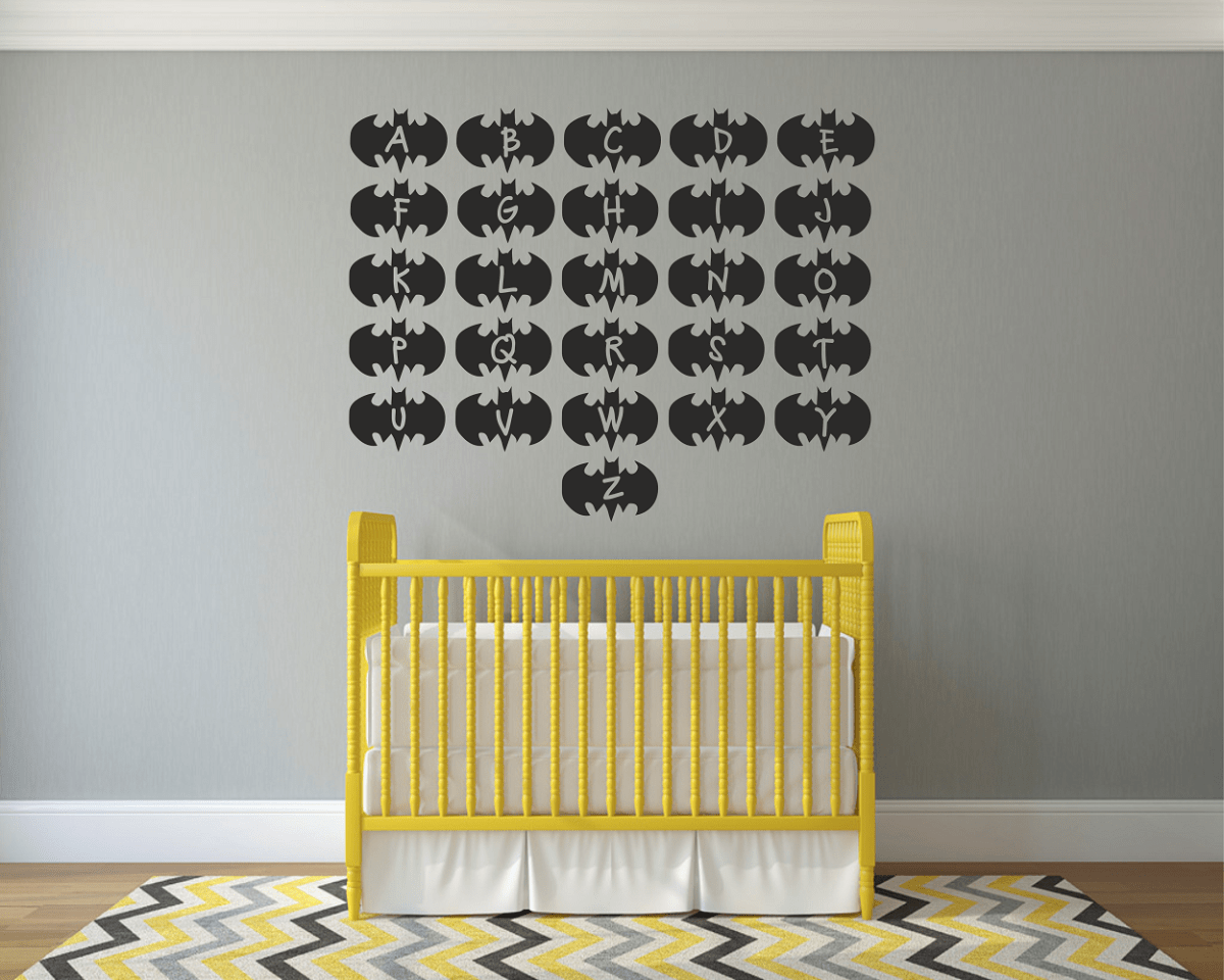 Batman Alphabets Kids Wall Art Decal Sticker | Wall/ Tile Art Vinyl ...